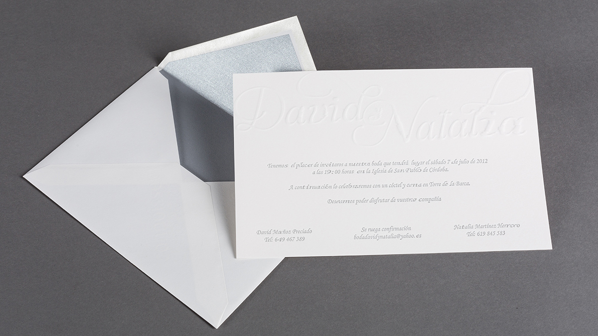 Invitation with its special envelope.