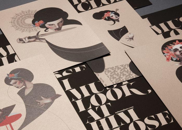 Tarjetones basados en la tipografía Salomé impresos en offset en papel curious matter y contracolados