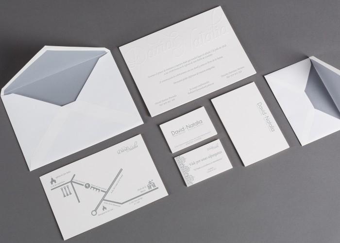 Conjunto piezas de boda: invitación, tarjetas, plano, tarjeta de agradecimiento y sobres forrados