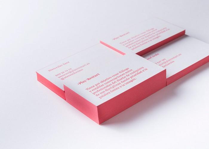 Tarjetas en Letterpress y cantos coloreados para Play Restart