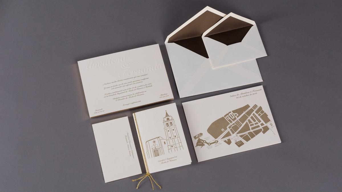Invitaciones de boda en oro