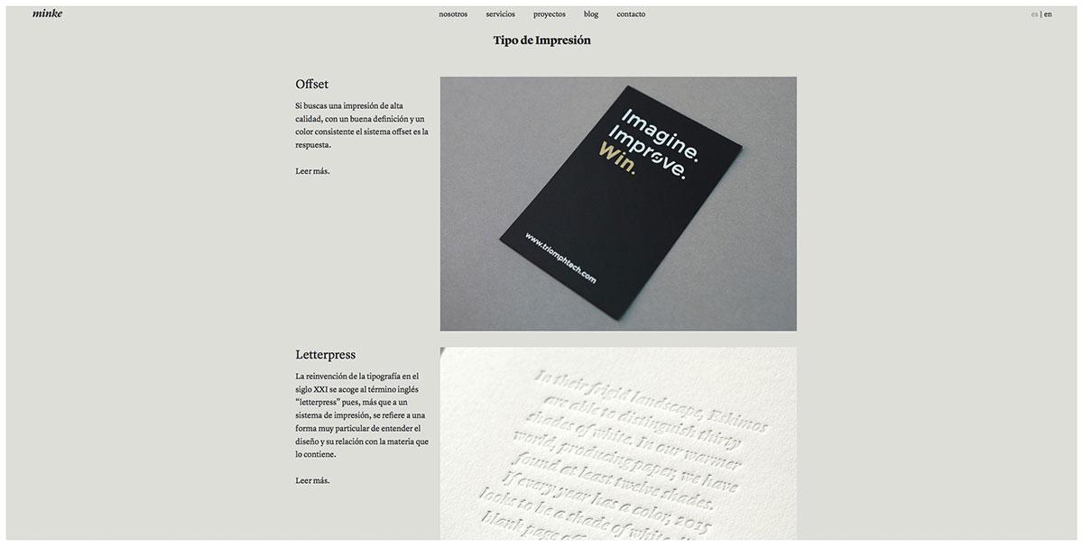 Nueva web página impresión