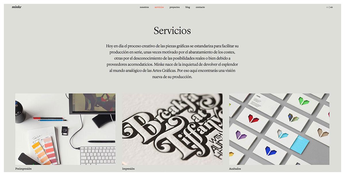 Servicios en la web de Minke