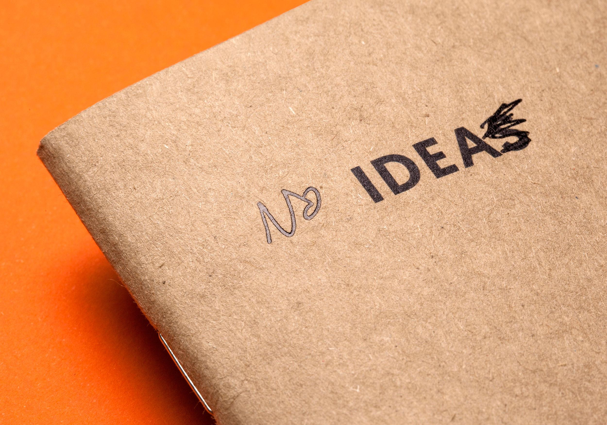 Detalle de cubierta Ideas con estampación negra de la colección Raw