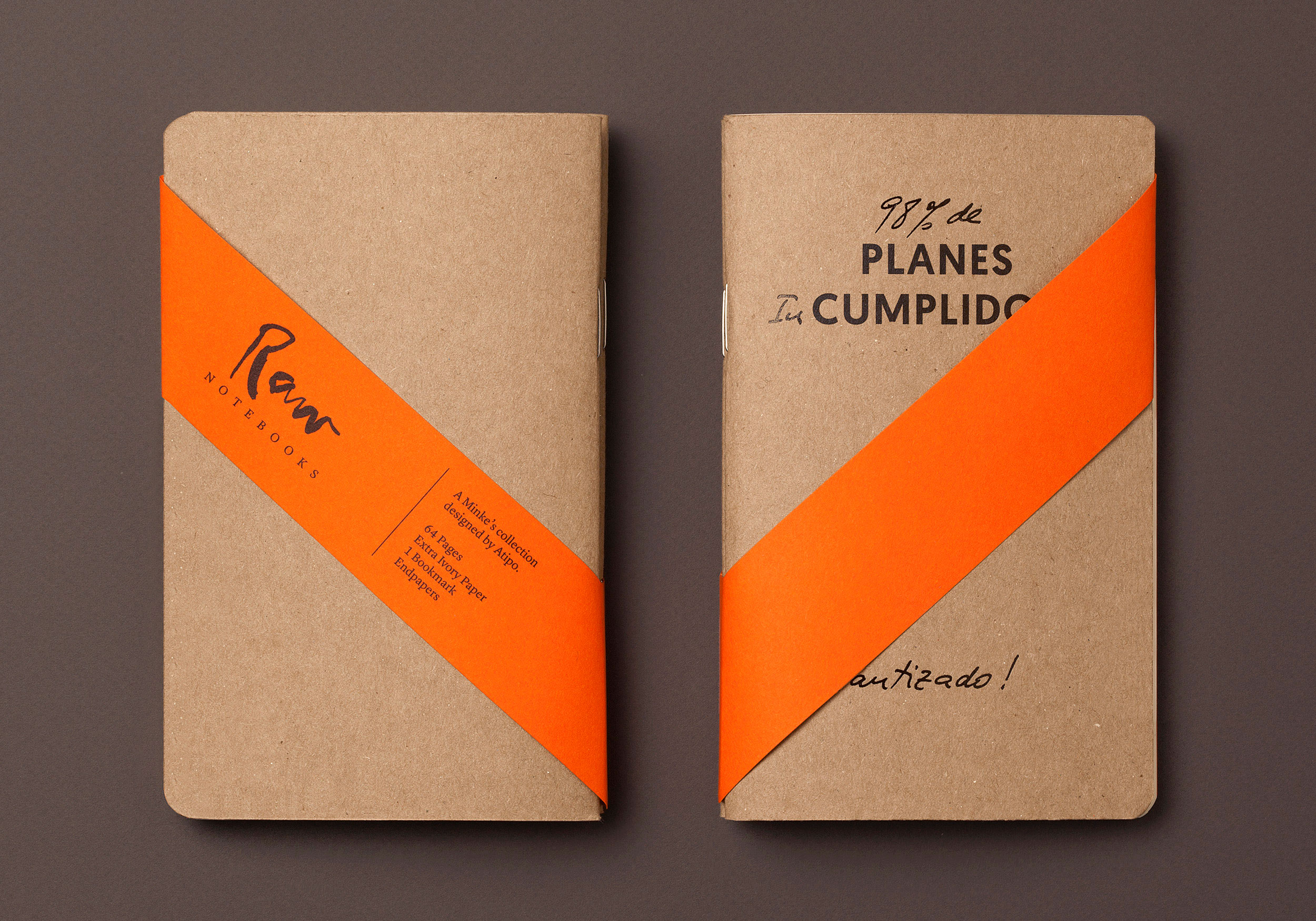 Planes cumplidos Raw Notebooks with band