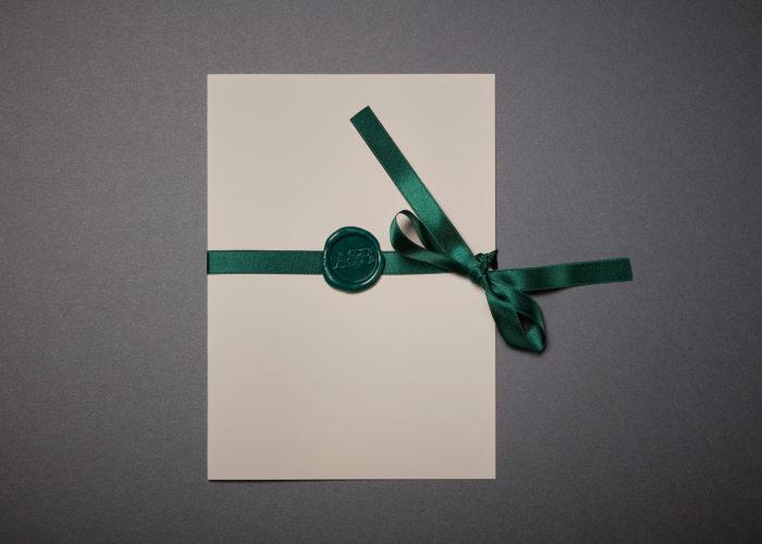Invitación de Boda en díptico con sello de lacre