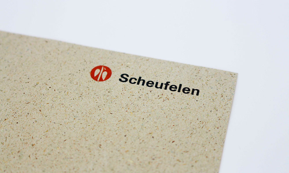 Sample of Grasspapier with logo Scheufelen printed