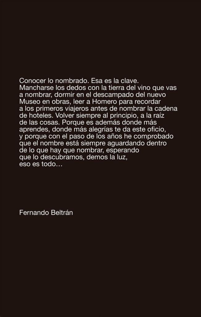 Cartel con las palabras de Fernando Beltrán sobre su oficio
