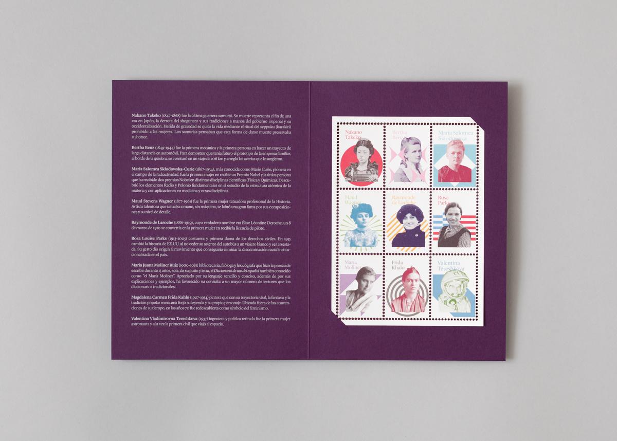 Carpeta con 9 sellos de mujeres relevantes